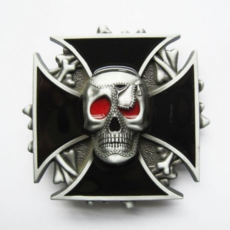 HEBILLA IRON CROSS SKULL