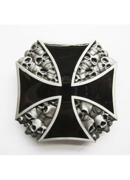HEBILLA IRON CROSS METAL SKULL